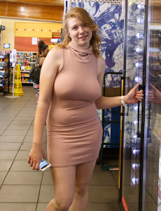 Readhead Irelynn Dunham shows her big natural boobs