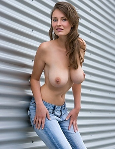 Young candid girl with sexy breasts